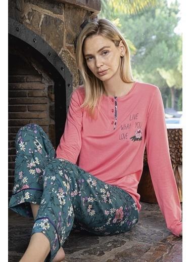 Aydoğan Kadın Poplin Altı Çiçek Desenli Üstü Düz Pijama Takımı Renkli